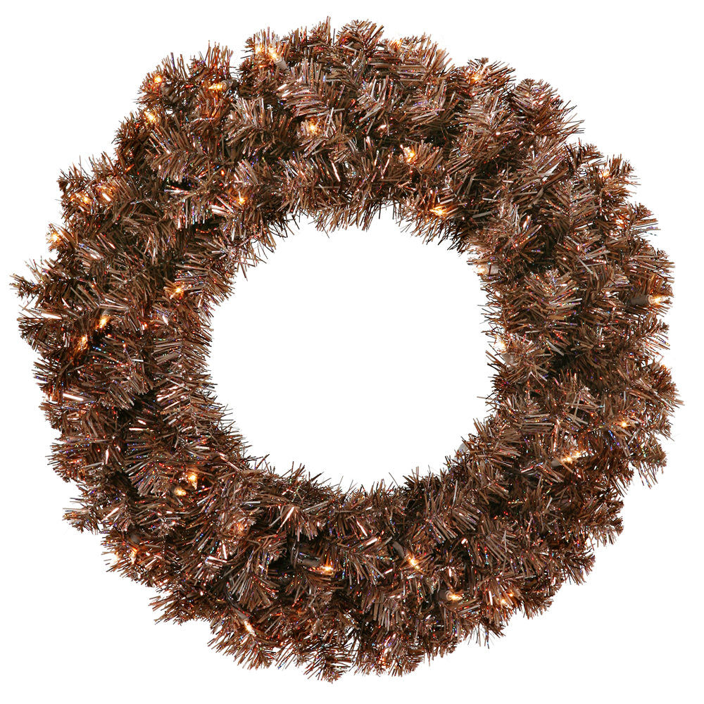 Vickerman 30in. Mocha 260 Tips Wreath 70 Clear Mini Lights