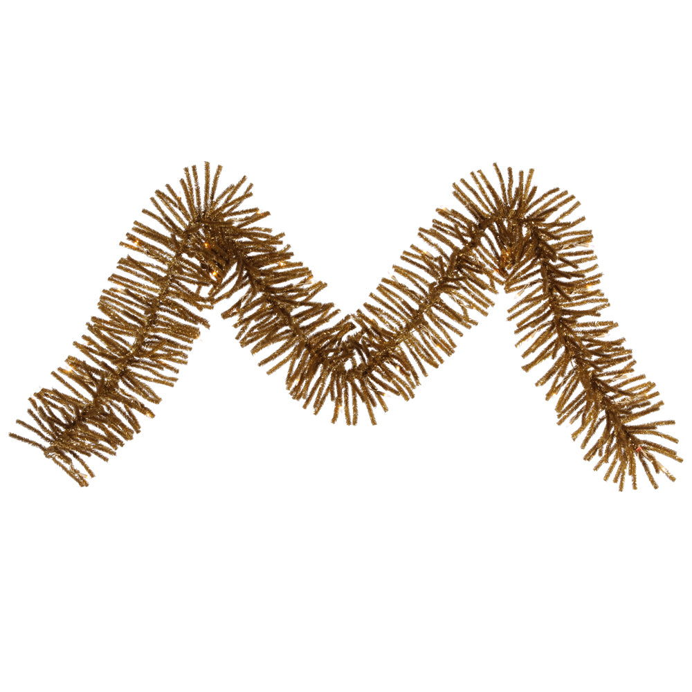 "9' x 10"" Ant Gold Mini Garland 50CL 500T"