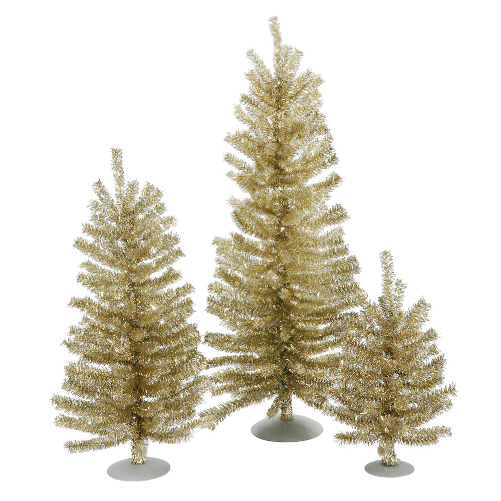 "12""/18""/24"" Champagne Mini Tree Set 391T"