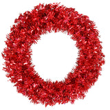 Vickerman 30in. Red 260 Tips Wreath 70 Red Mini Lights - BulbAmerica