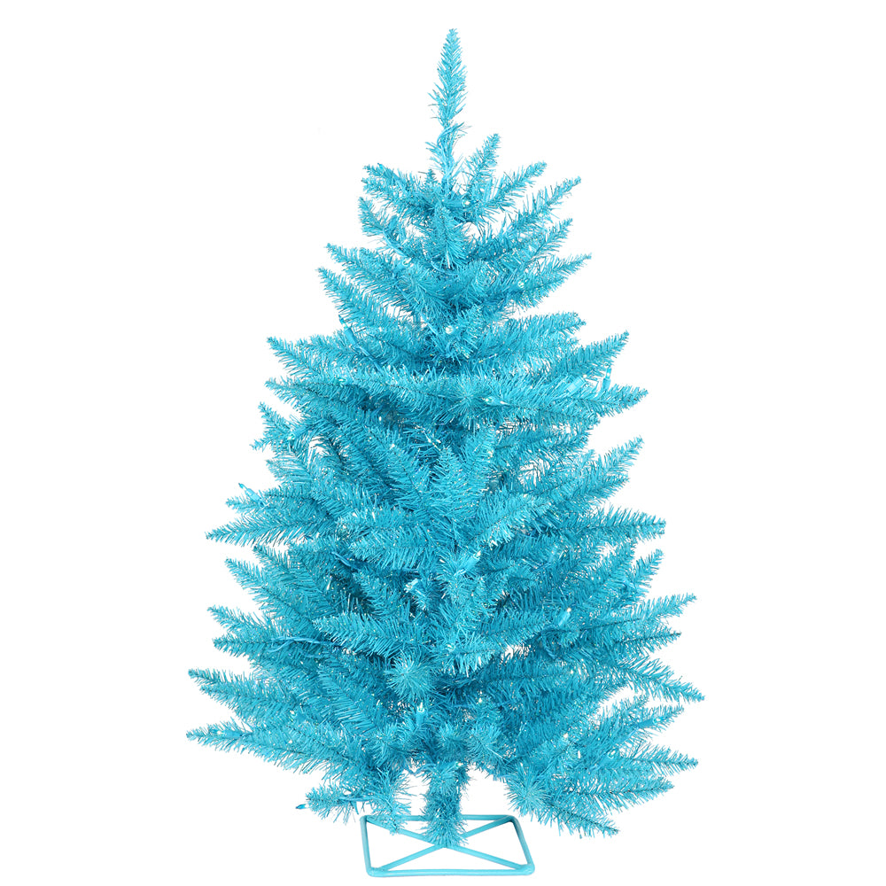 Vickerman 3' Sky Blue Artificial Christmas Tree - 70 Teal Lights - Plastic stand