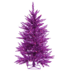 Vickerman 2' Purple Artificial Christmas Tree w/ Purple LED Lights Metal stand