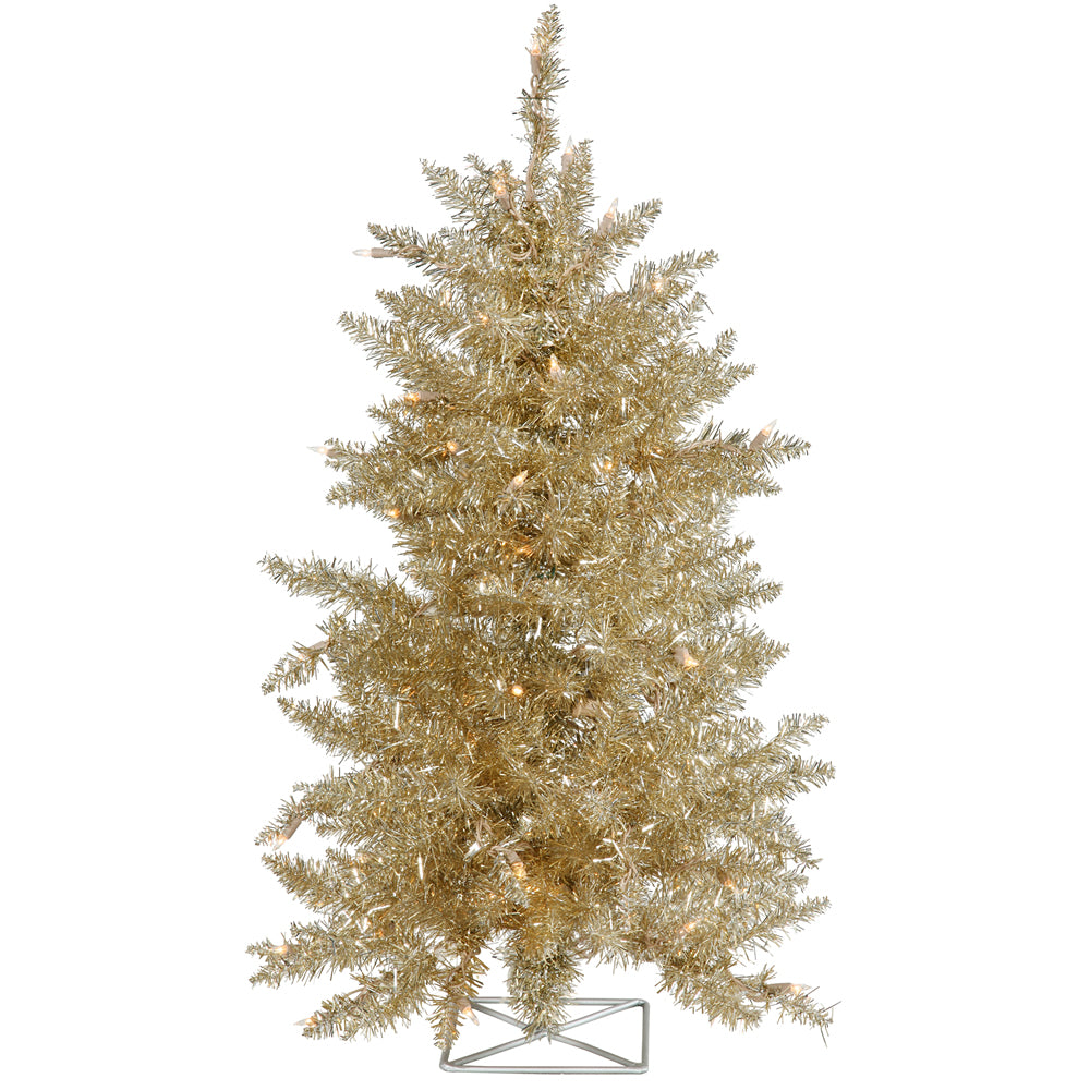 Vickerman 2' Champagne Artificial Christmas Tree - 35 Clear Lights - Metal stand