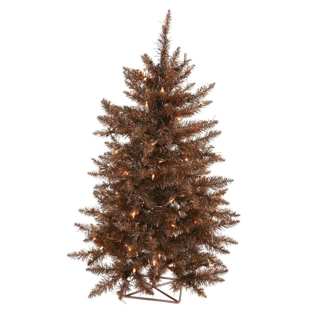 Vickerman 2' Mocha Tree Artificial Christmas Tree - 35 Clear Lights 115 PVC Tips