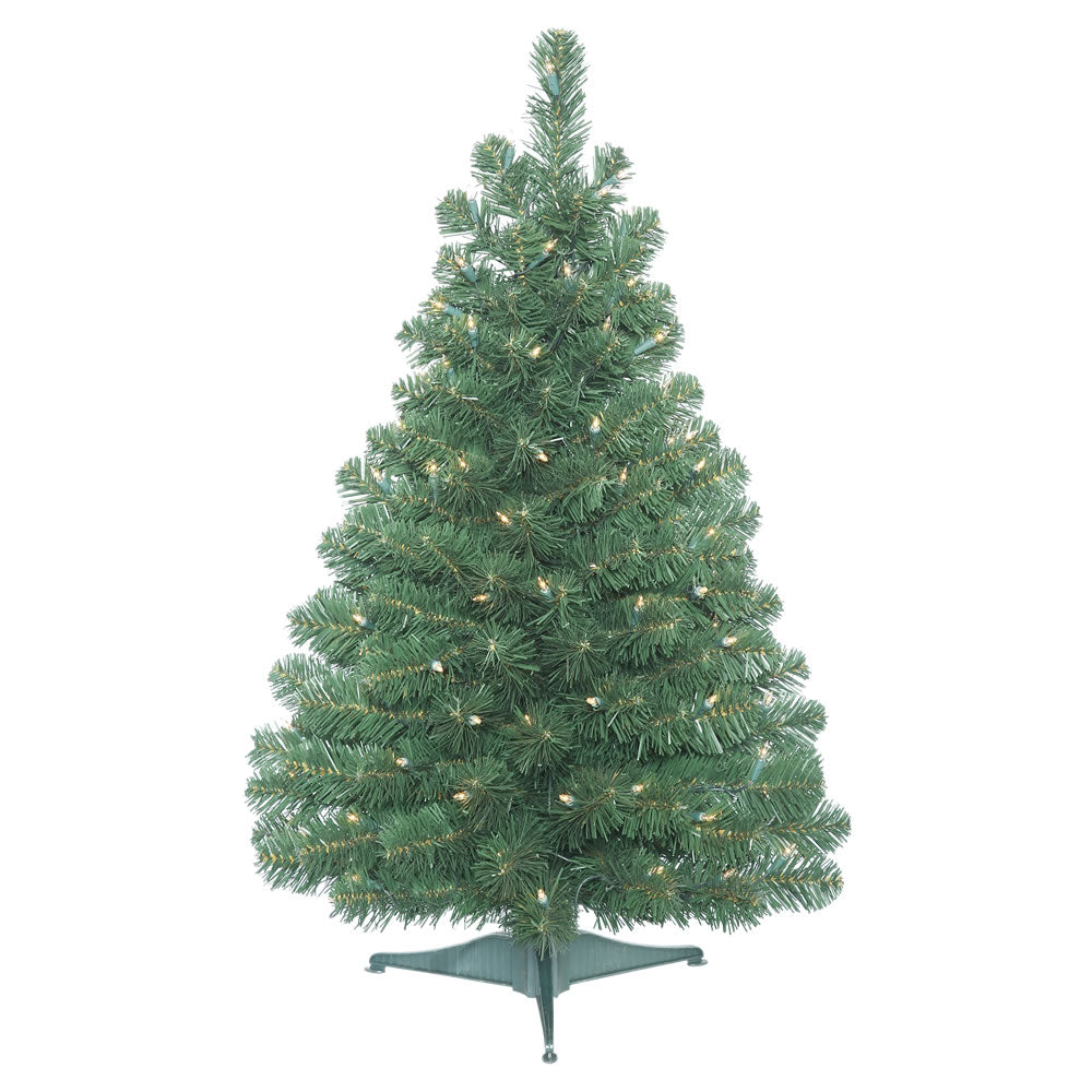 Vickerman 3' Oregon Fir Tree 100 Clear Lights - Pull Down Branches Plastic Stand