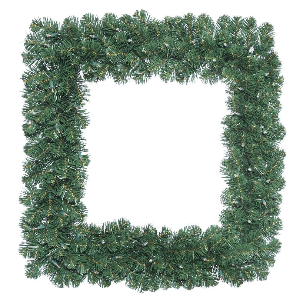 "30"" Oregon Fir Square Wreath with 70 Clear Lights"