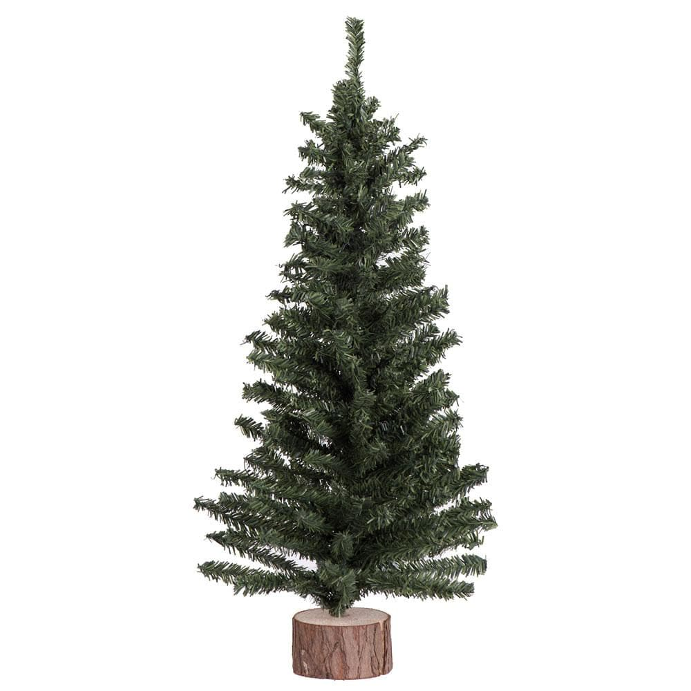 "1 Tree - 18"" Mini Pine Tree 242 Tips Wood Base"