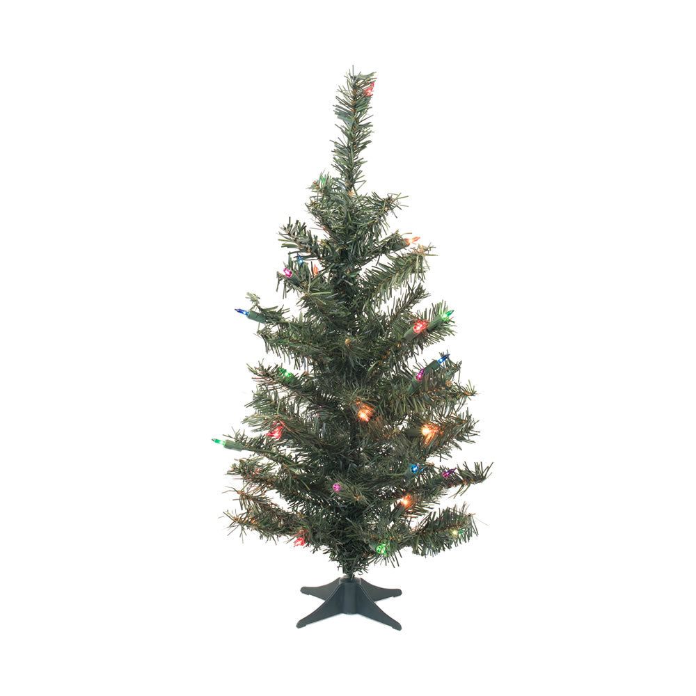 "Vickerman 36"" Canadian Pine Artificial Christmas Tree 35 Multi-colored Lights"