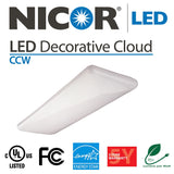 NICOR LED Decorative Cloud High-Output Ceiling Fixture, 5000K - BulbAmerica