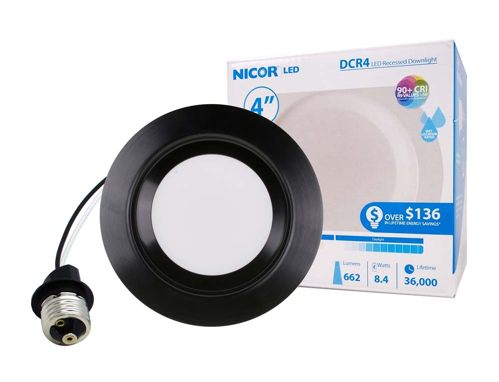 NICOR 4in. 663Lm LED Recessed Downlight Retrofit Light Fixture in Black, 3000K