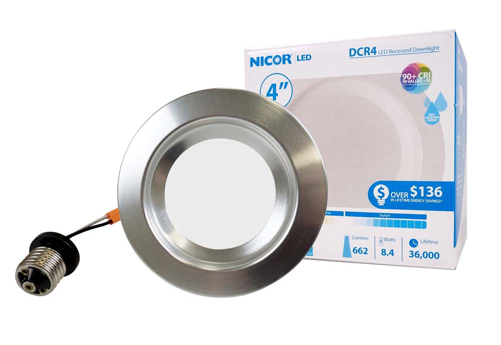 NICOR 4in. 694Lm LED Recessed Downlight Retrofit Light Fixture in Nickel, 5000K