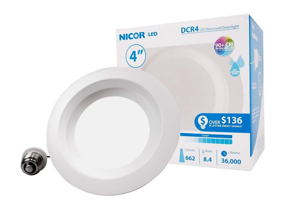 NICOR 4in. 694Lm LED Recessed Downlight Retrofit Light Fixture in White, 5000K