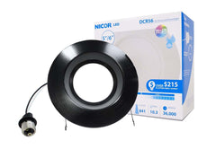 NICOR 5/6in. 878Lm LED Recessed Downlight Retrofit Light Fixture in Black, 3000K
