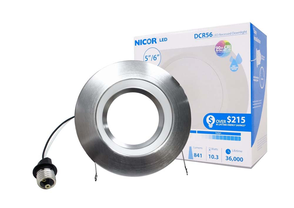 NICOR 5/6in. 901Lm LED Recessed Downlight Retrofit Light Fixture in Nickel, 4000K