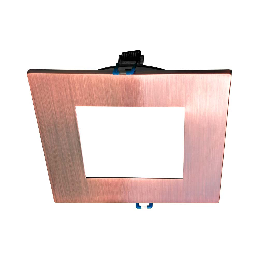 DLE4 Series 4 in. Square Aged Copper Flat Panel LED Downlight in 3000K