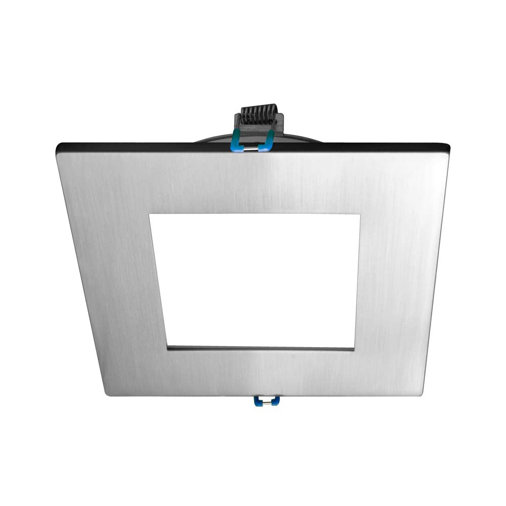 DLE4 Series 4 in. Square Nickel Flat Panel LED Downlight in 3000K