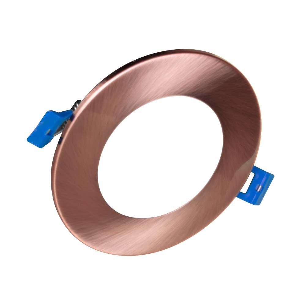 DLE4 Series 4 in. Round Aged Copper Flat Panel LED Downlight in 4000K