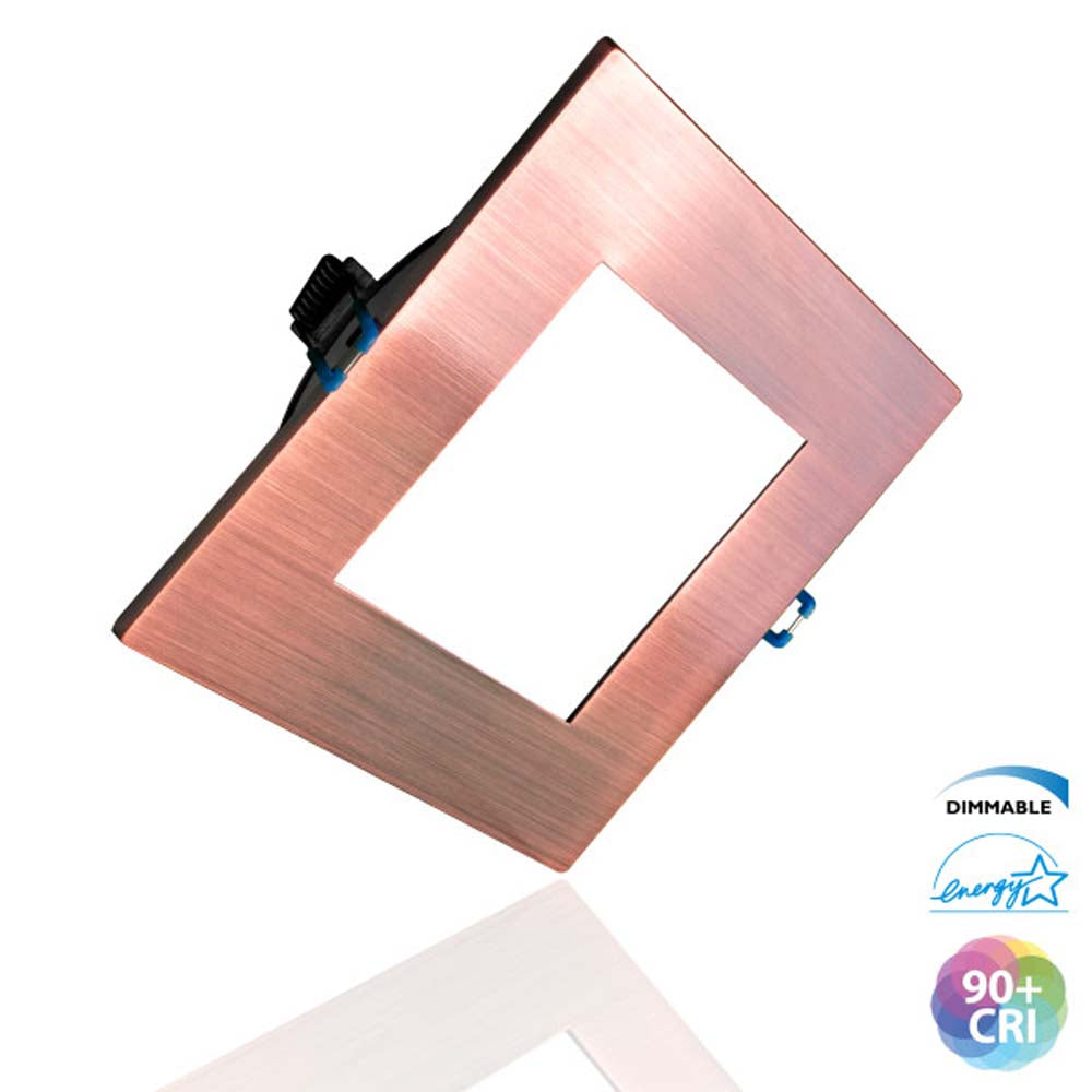DLE4 Series 4 in. Square Aged Copper Flat Panel LED Downlight in 4000K