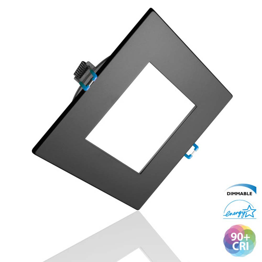 DLE4 Series 4 in. Square Black Flat Panel LED Downlight in 5000K