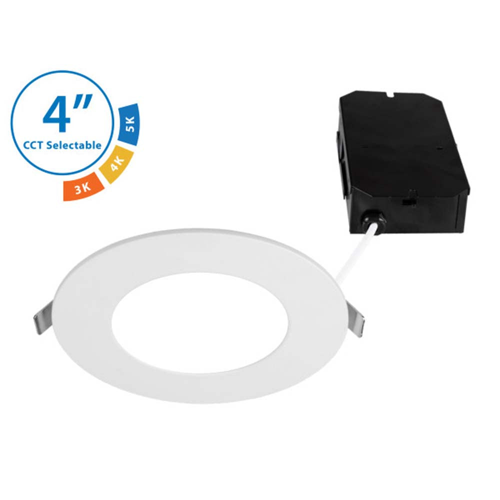 Nicor 4 in. Selectable CCT Flat Panel Dimmable LED Downlight in White Finish