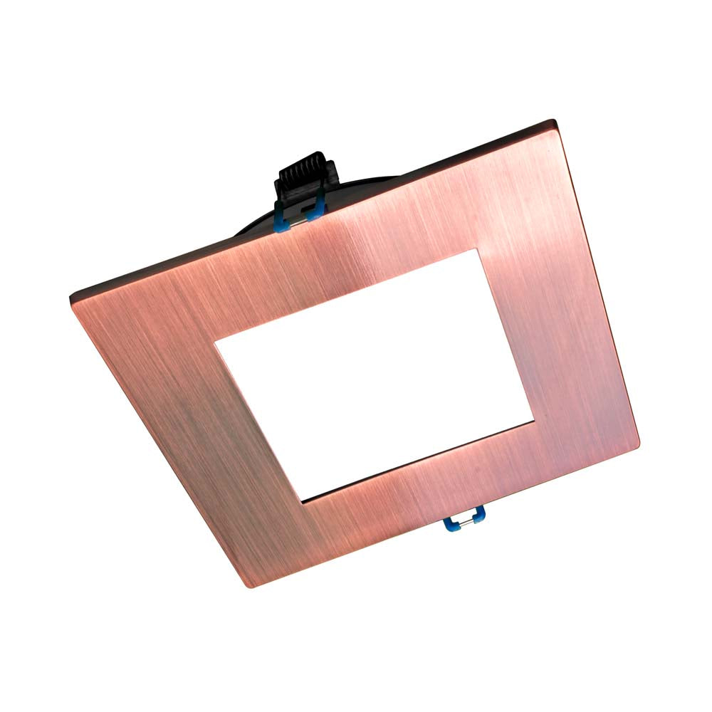 DLE6 Series 6 in. Square Aged Copper Flat Panel LED Downlight in 3000K