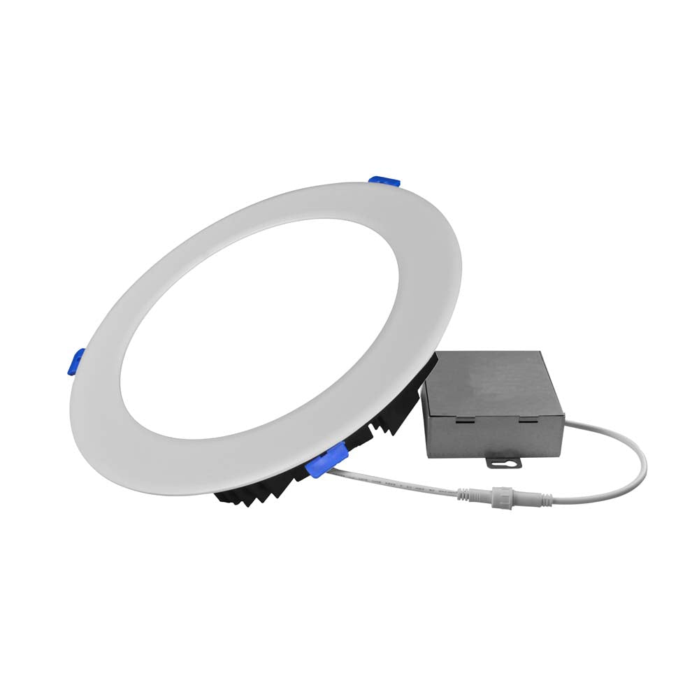 NICOR DLE8 Series 8 in. Round White Flat Panel LED Downlight in 3000K