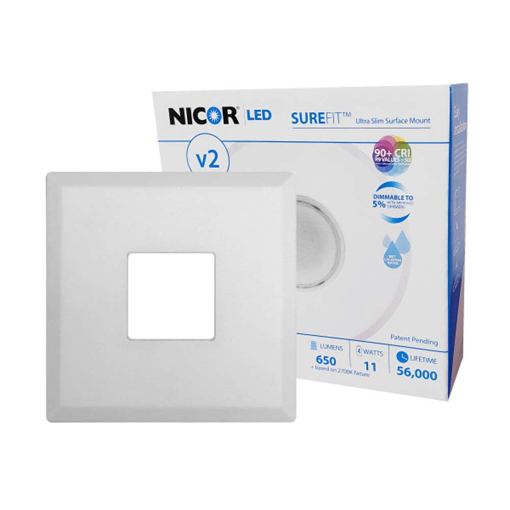 5.2 in. Square Ultra Slim Surface Mount LED Downlight in White, 2700K