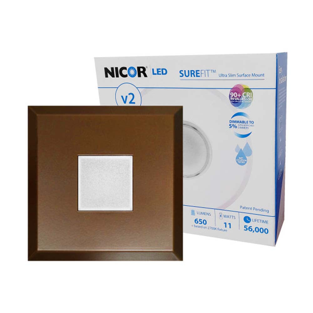 5.2in. Square Ultra Slim Surface Mount LED Downlight in Oil-Rubbed Bronze, 3000K