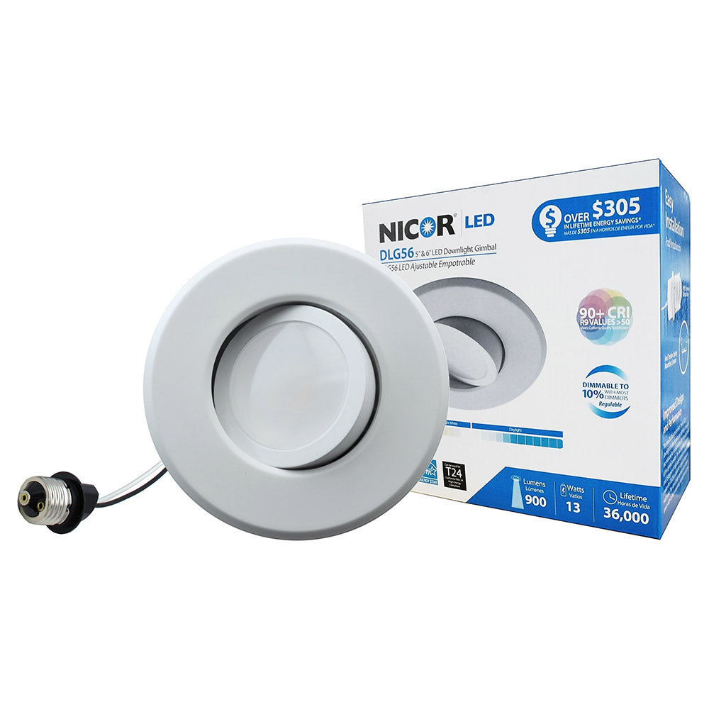 NICOR 6 in. LED Gimbal Downlight Retrofit Kit for 5 and 6 in. Housings, 2700K