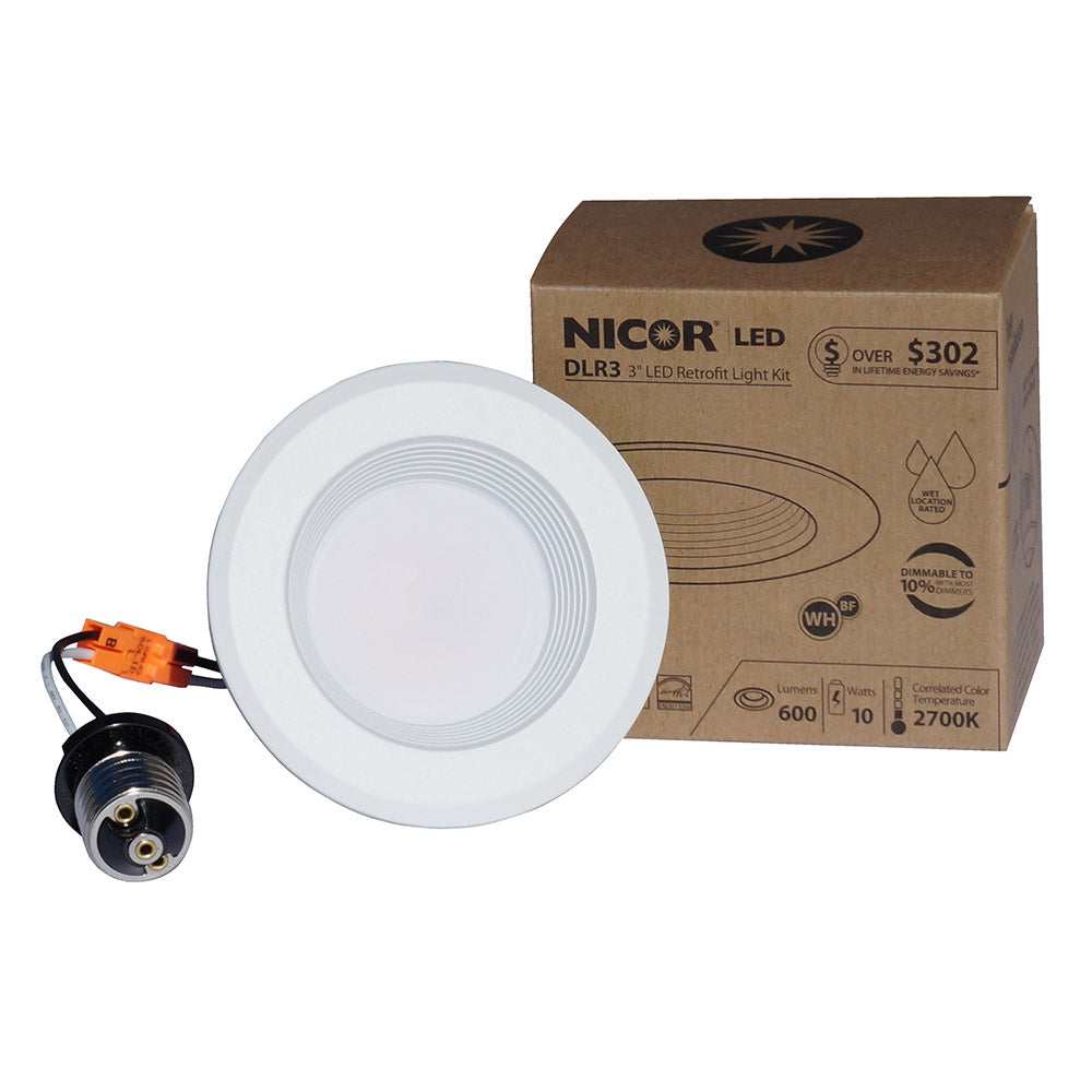 NICOR D-Series 3 in. White Dimmable LED Recessed Downlight 4000K