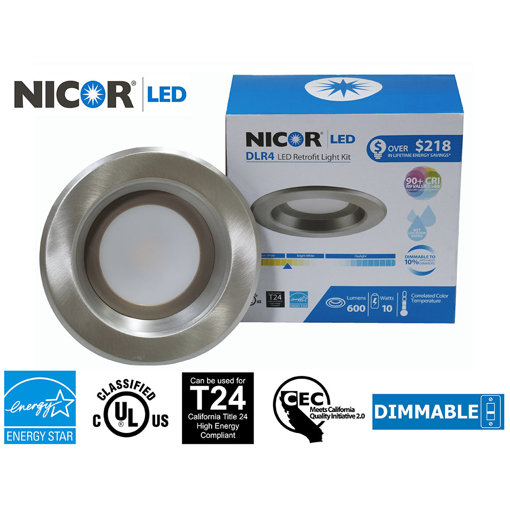 NICOR 4 in. Nickel LED Recessed Downlight in 5000K
