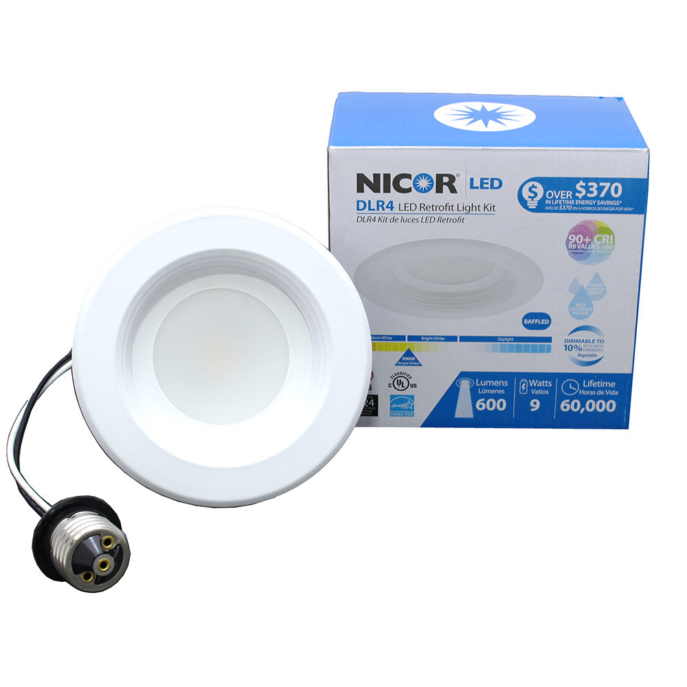 NICOR 4 in. White LED Recessed Downlight in 3000K with Baffle Trim