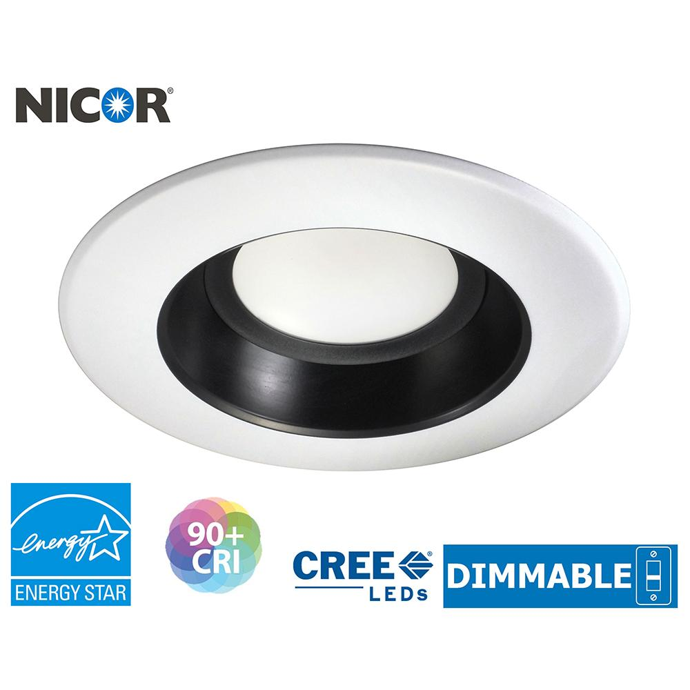 NICOR 6 in. Black and White 730 Lumen LED Recessed Downlight in 3000K