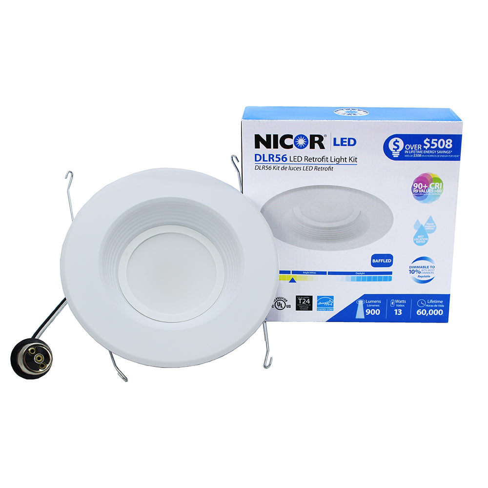 NICOR 6 in. White 800 Lumen LED Recessed Downlight in 2700K with Baffle Trim