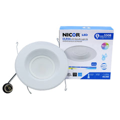 NICOR 6 in. White 1200 Lumen LED Recessed Downlight in 2700K with Baffle Trim