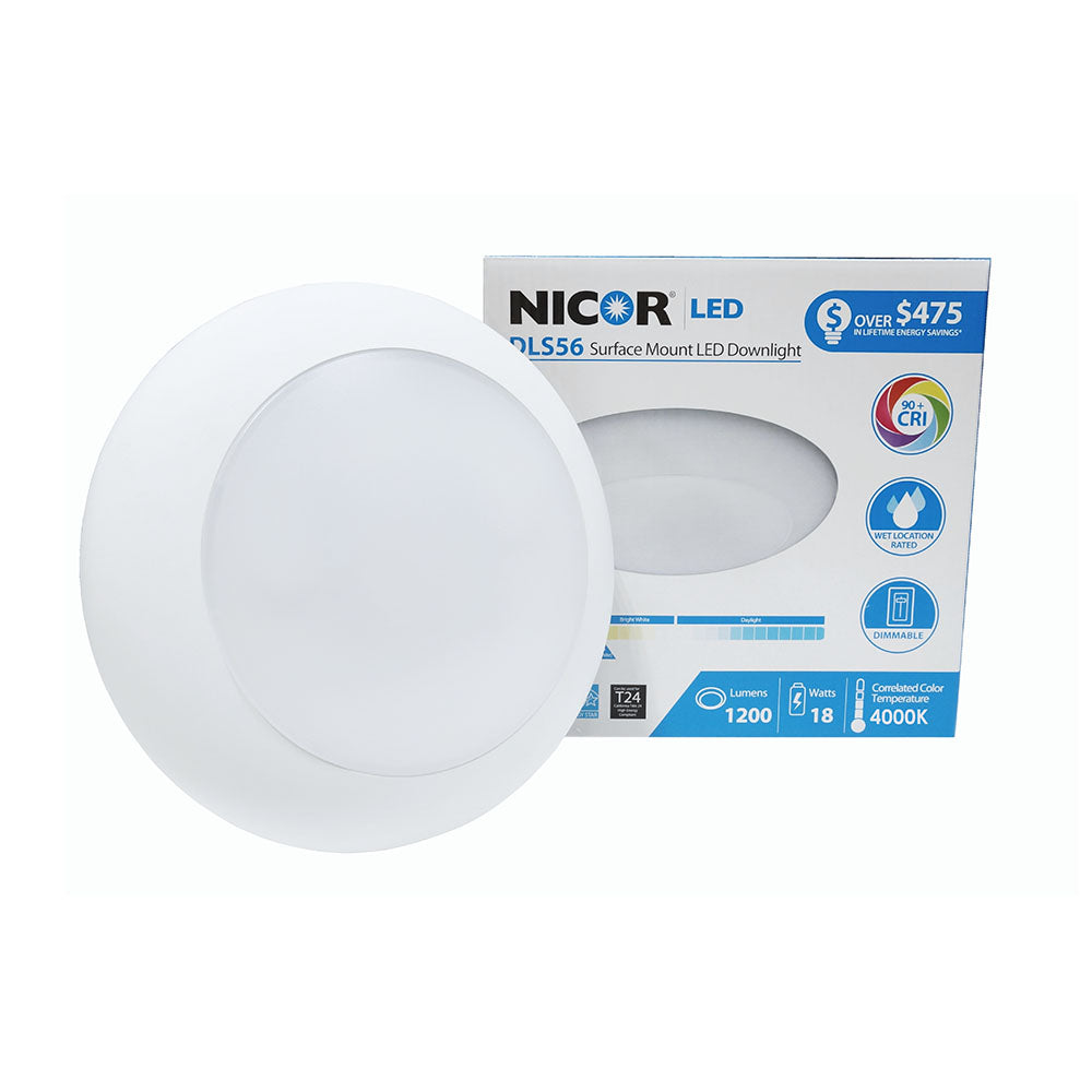 "NICOR 1200 Lumen White 4000K LED Surface Mount Retrofit for 5"" and 6"" Housings"