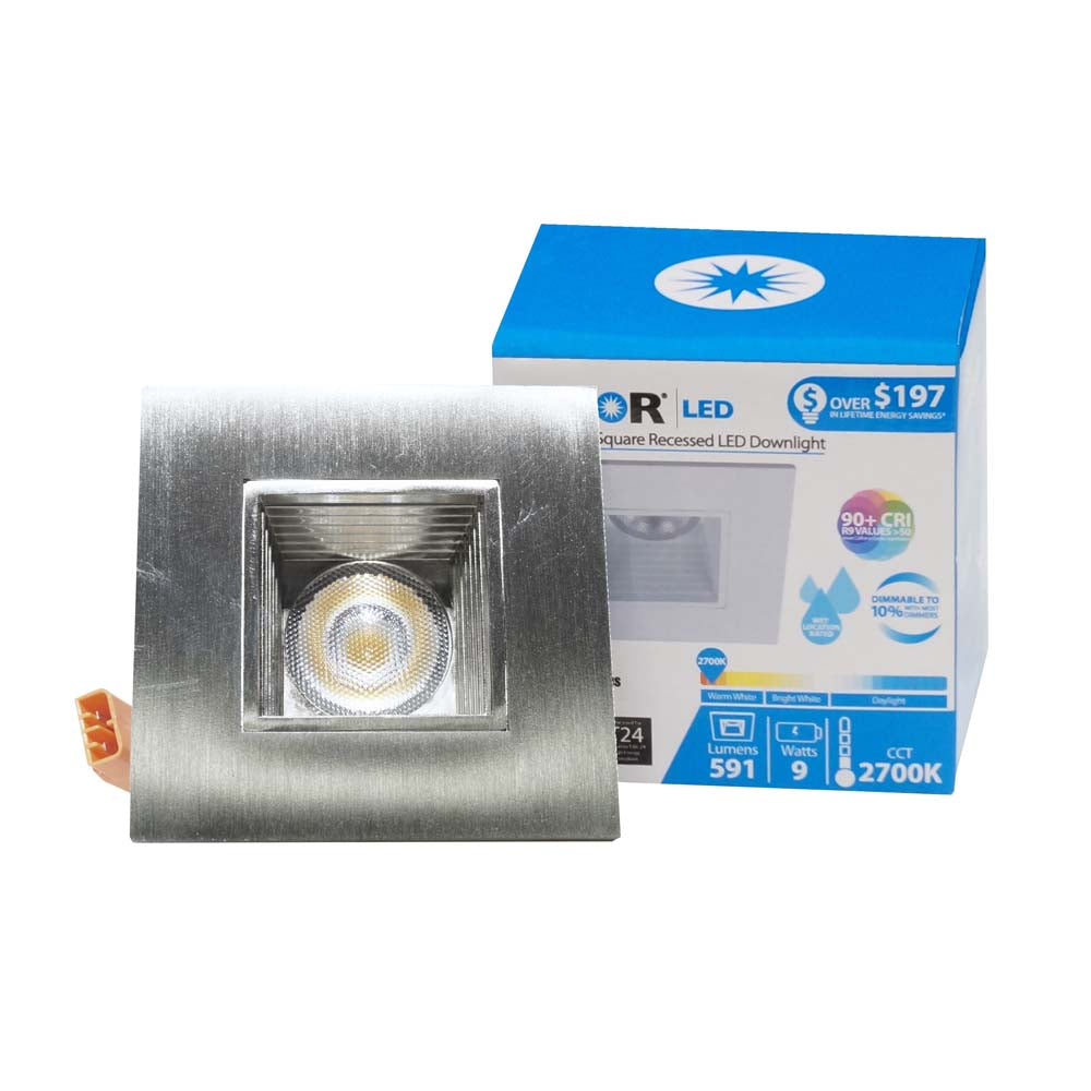 NICOR 2 in. Square LED Downlight with Baffle Trim in Nickel, 3000K