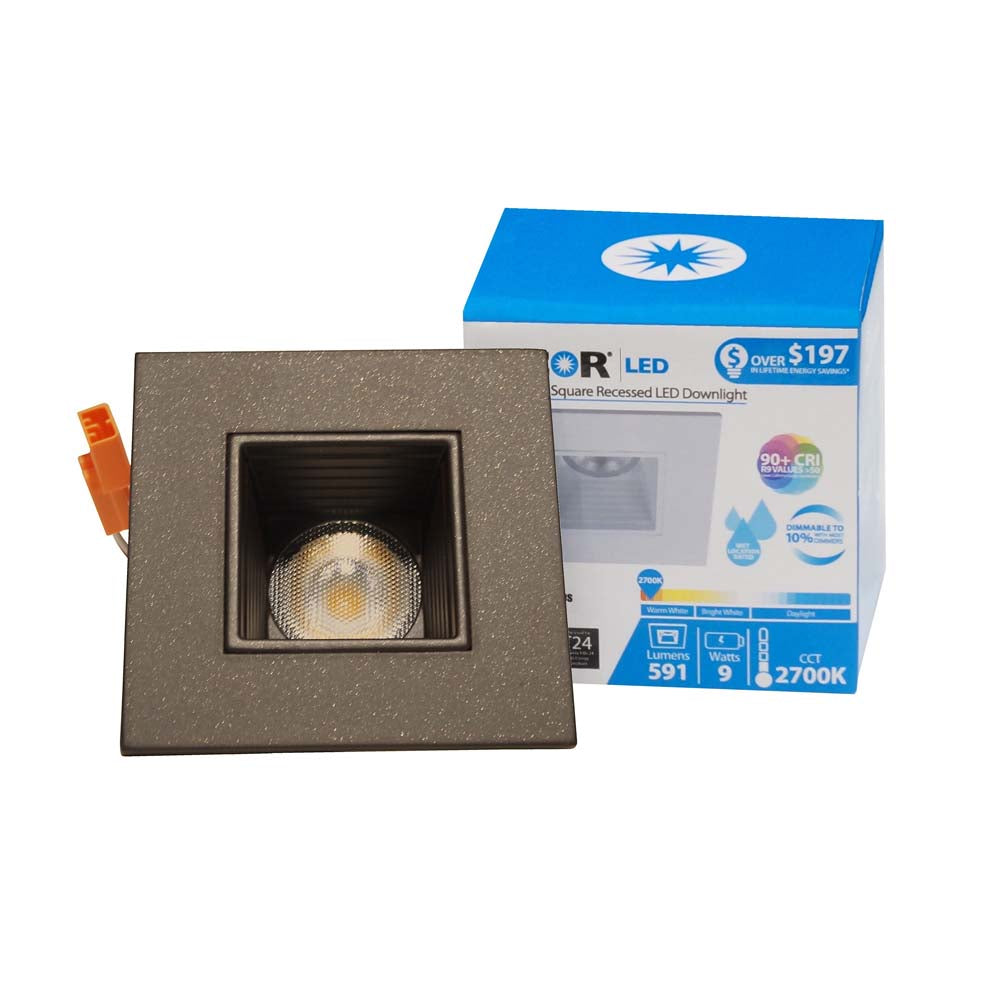 NICOR 2 in. Square LED Downlight with Baffle Trim in Oil-Rubbed Bronze, 3000K
