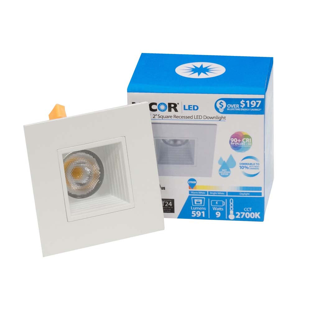 NICOR 2-inch. Square LED Down light with Baffle Trim in White, 3000K