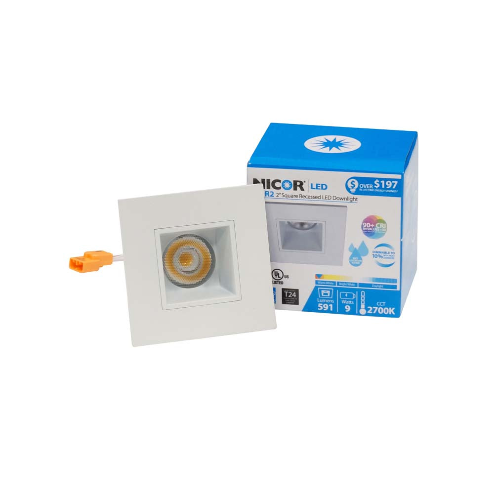 NICOR 2 in. Square LED Downlight 3000K Soft White 631lm with White Trim