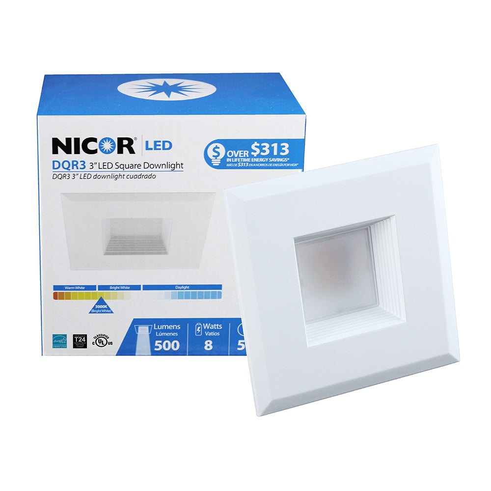 NICOR 3 in. White Square LED Recessed Downlight in 3000K