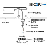 NICOR 3 in. White Square LED Recessed Downlight in 4000K_3