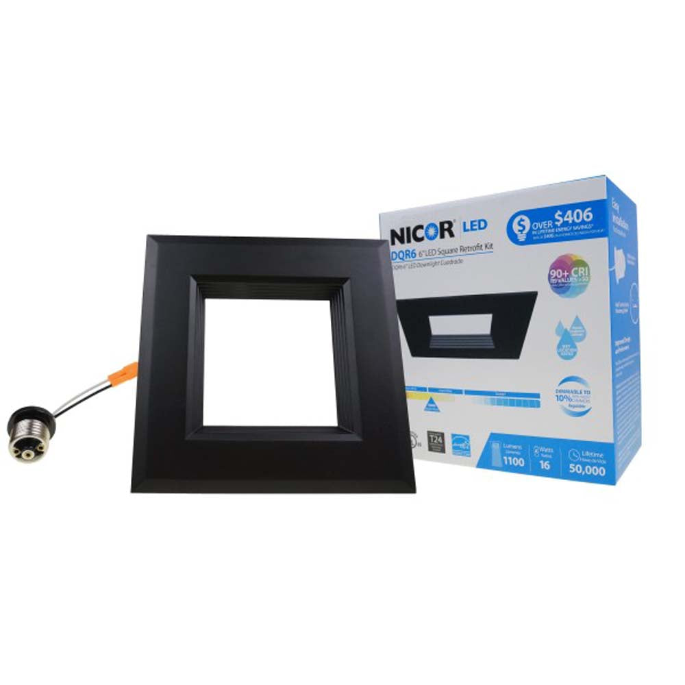 DQR Series 6 in. Black Square LED Recessed Downlight in 3000K