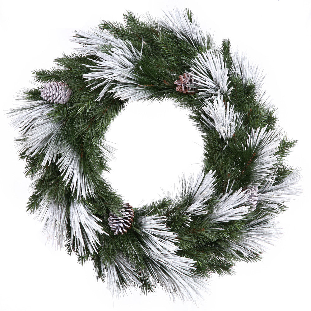 Vickerman 30in. Flocked White on Green 157 Tips Wreath