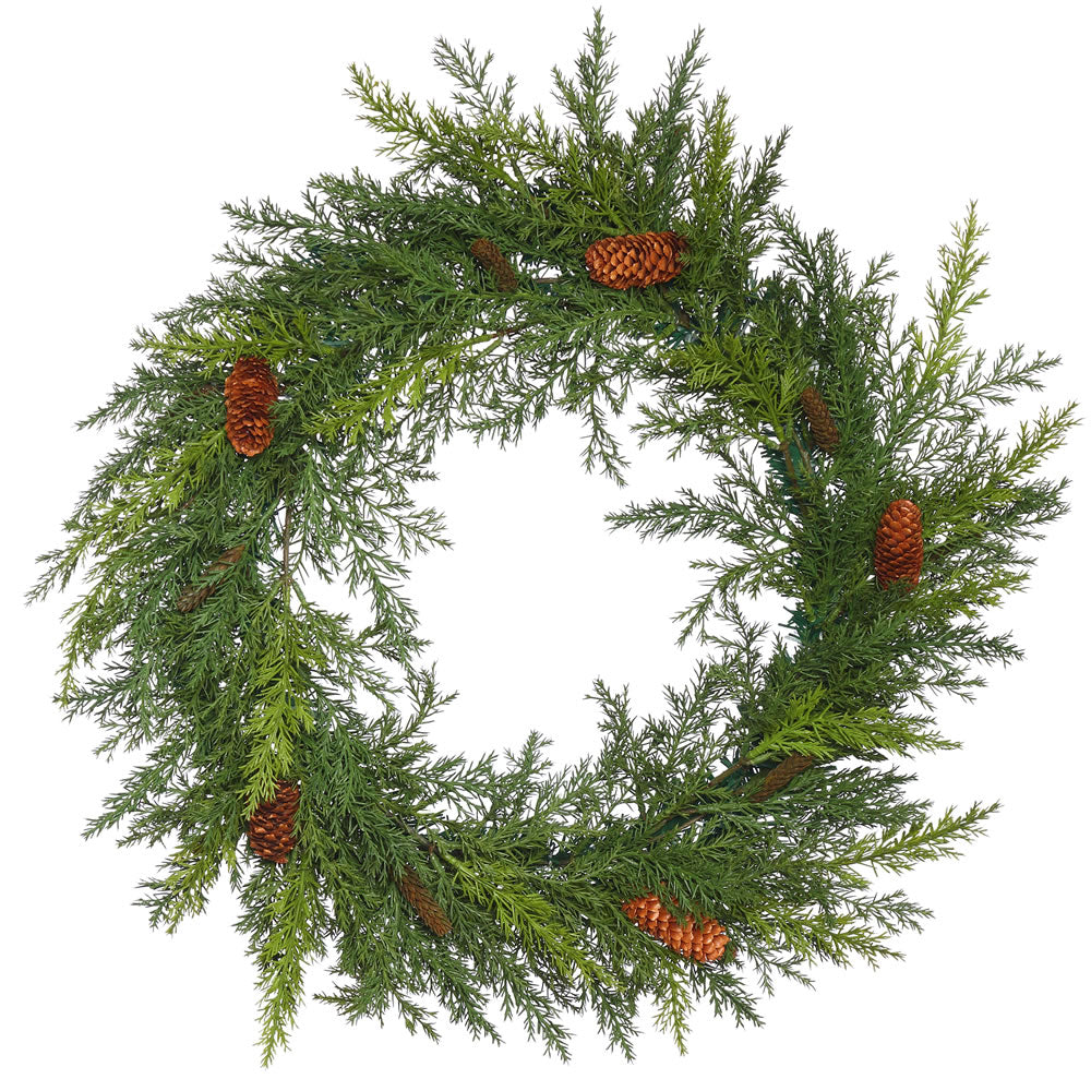 22in. Prickly Pine Wreath w/Cones 130 PE Tips