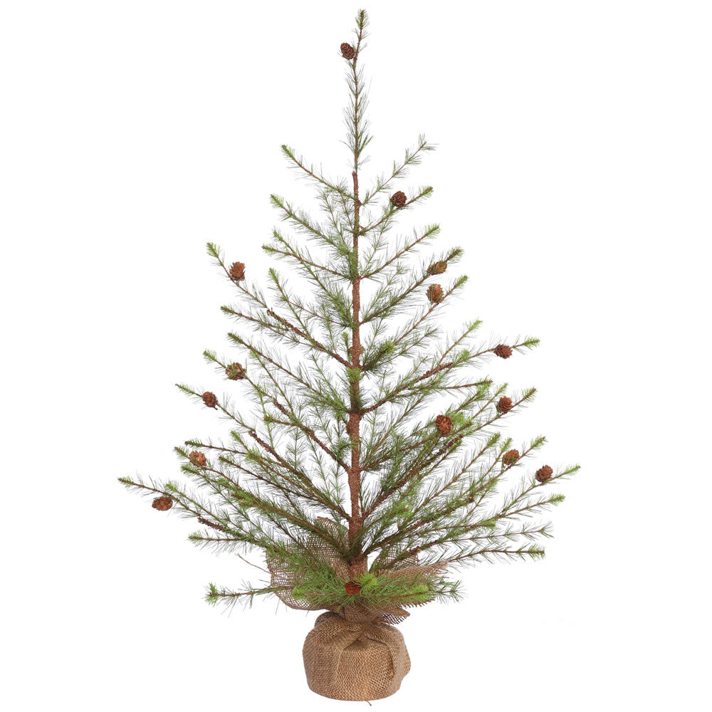 36in. x 26in. Missoula Pine Tree w/Cones Burlap Base 96 Hard Needle Tips