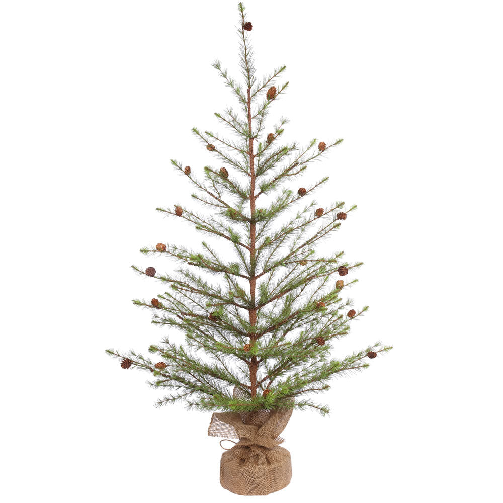48in. x 30in. Missoula Pine Tree w/Cones Burlap Base 172 Hard Needle Tips