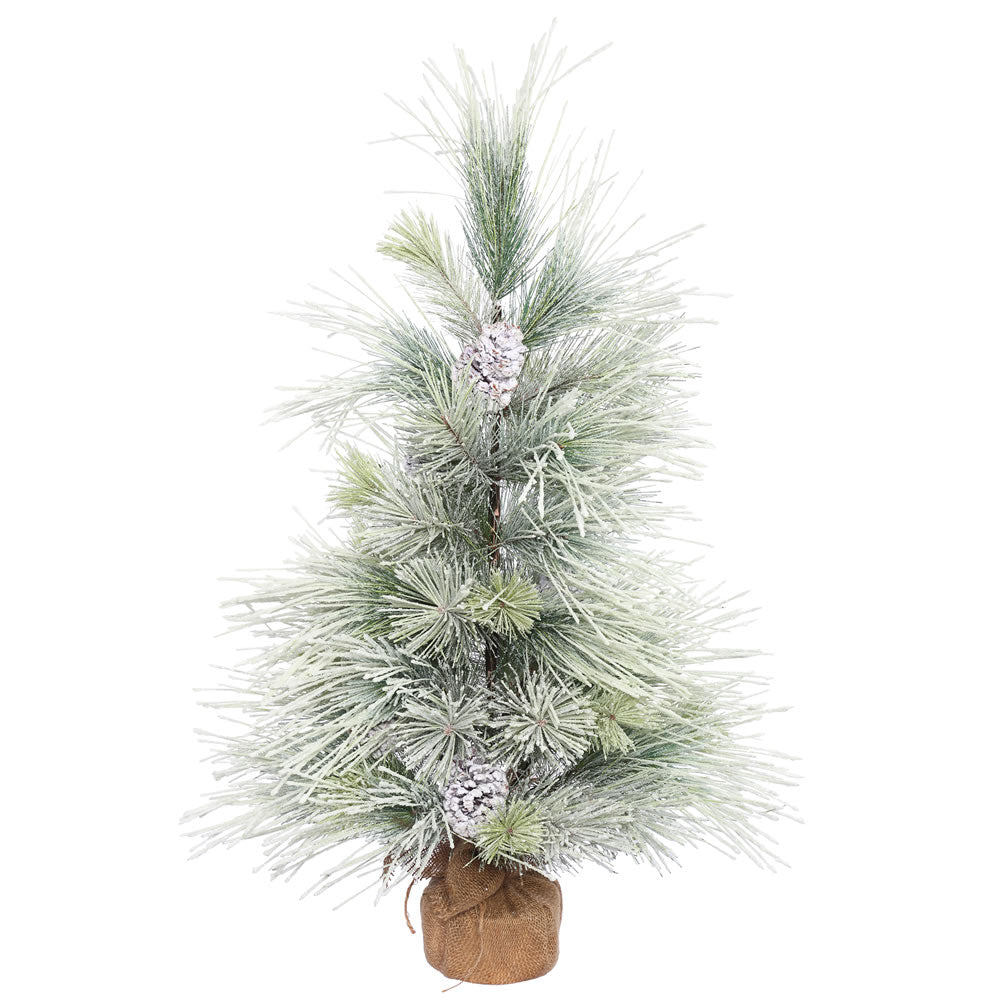 3Ft. x 26in. Frosted Norway Pine Tree w/Cones Burlap Base 48 Hard Needle Tips