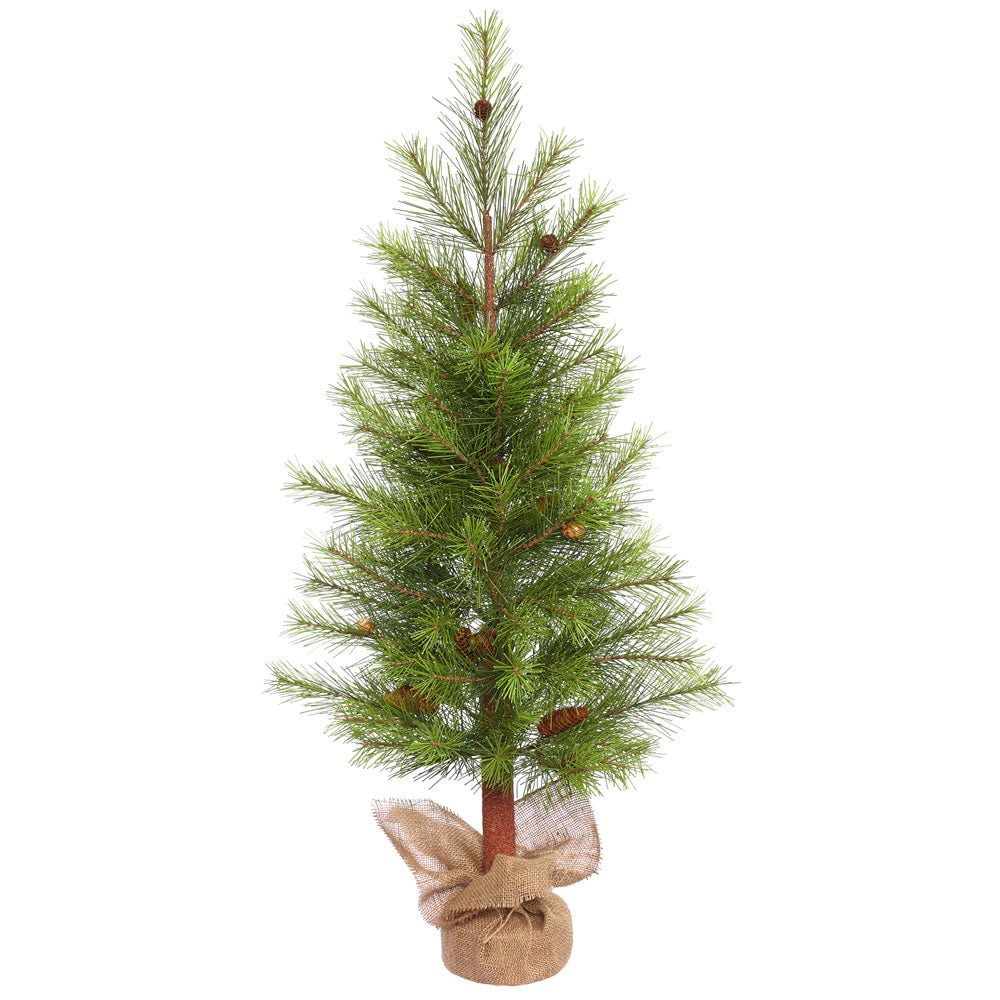 4Ft. x 25in. White Pine Alpine Tree w/Cones Burlap Base 86 Hard Needle Tips
