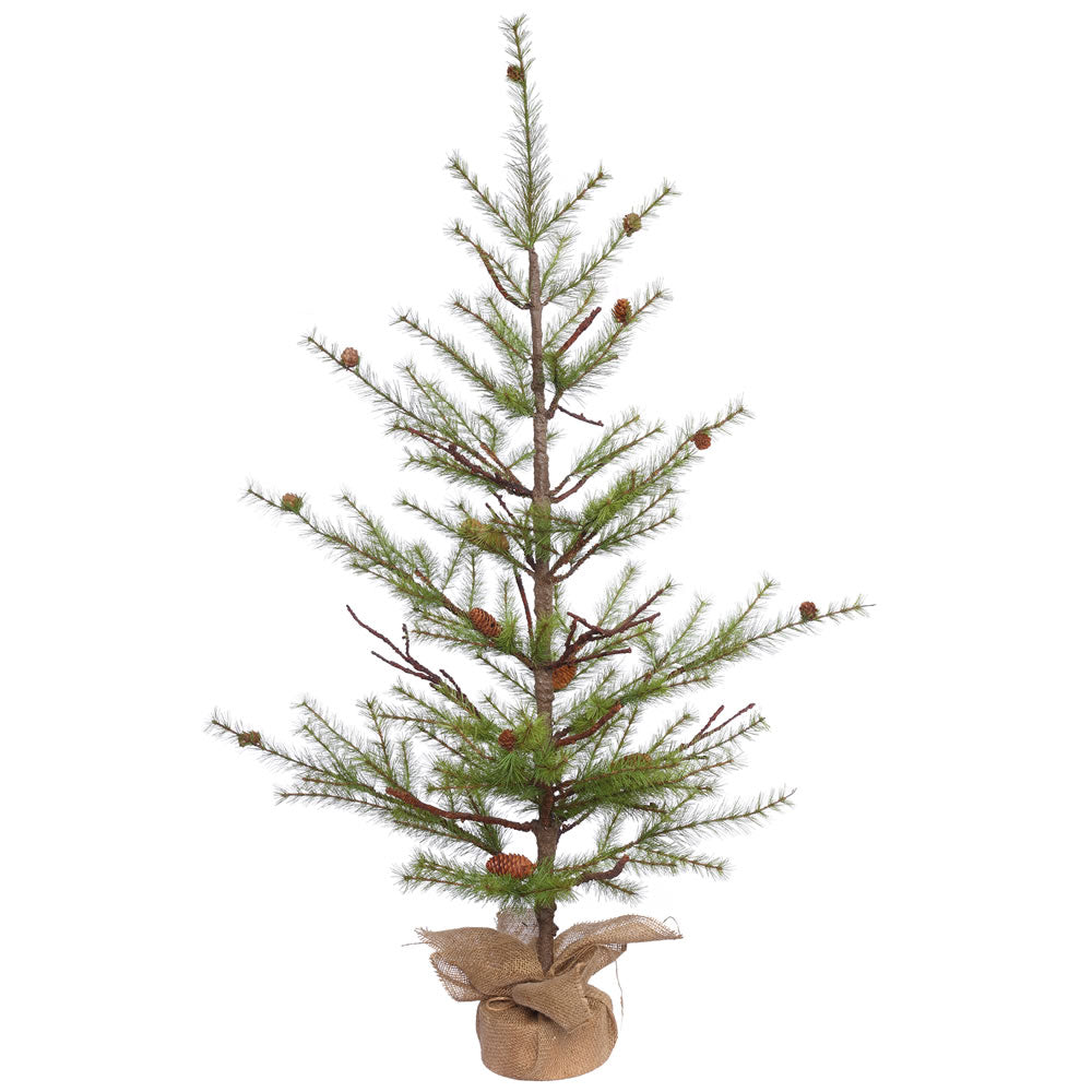 4Ft. x 36in. River Pine Tree w/Cones Burlap Base 130 Hard Needle Tips